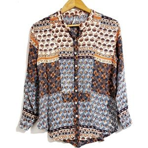 Free People Floral Patchwork Print Button-Down Top